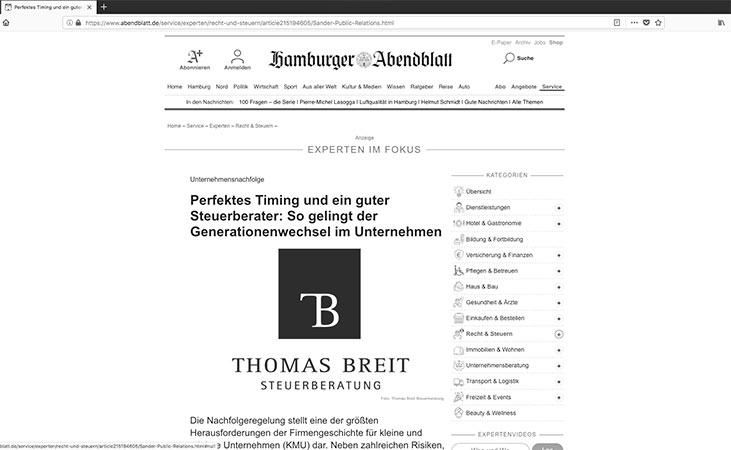 Experte Steuerberater Breit im Abendblatt